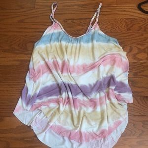 Braided Strap Tye Dye Watercolor Pastel Tank